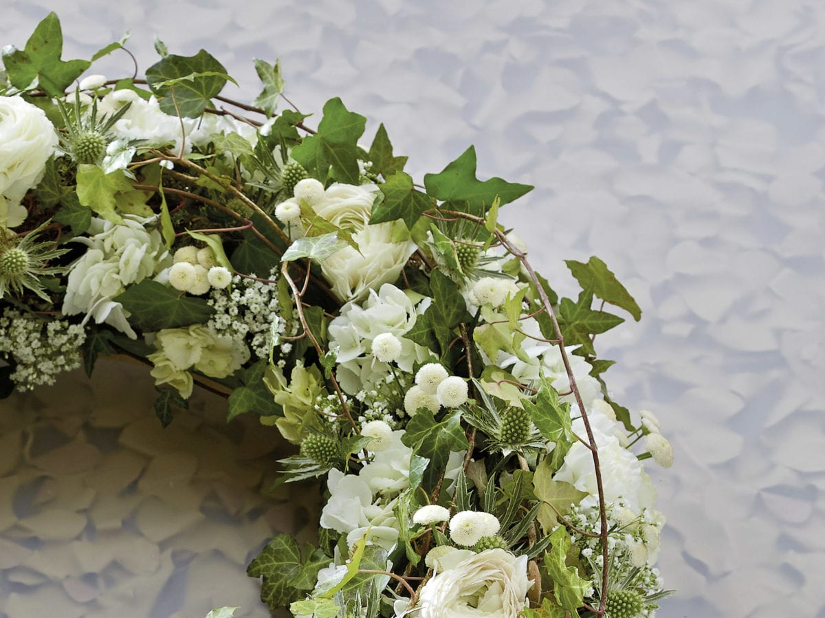 Funeral Wreaths with White Flowers