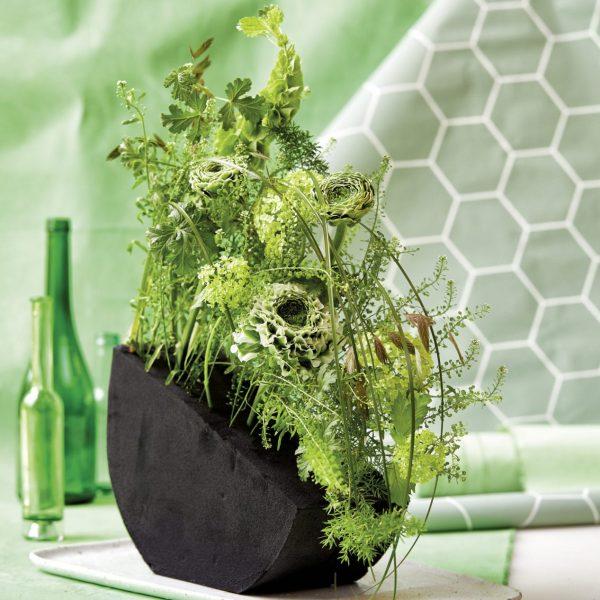 Raum Tisch Dekoration Deko Steckschaum Grün