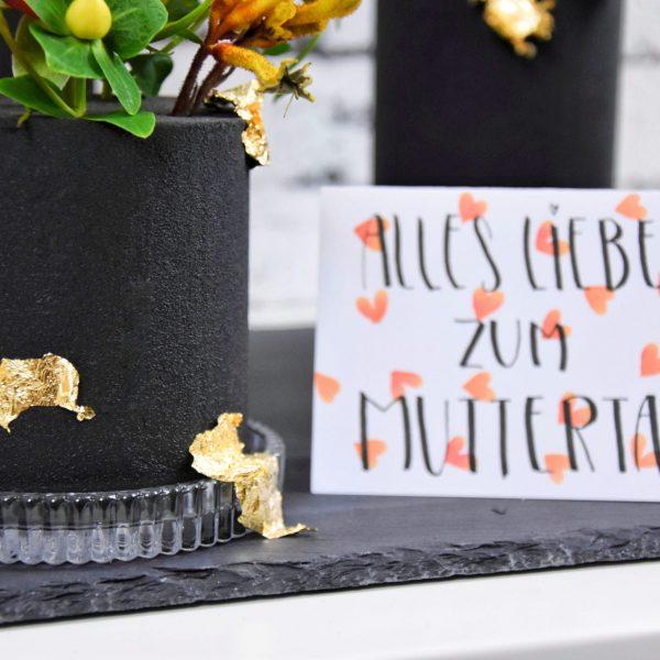 Muttertag schwarzer Steckschaum Tischdeko